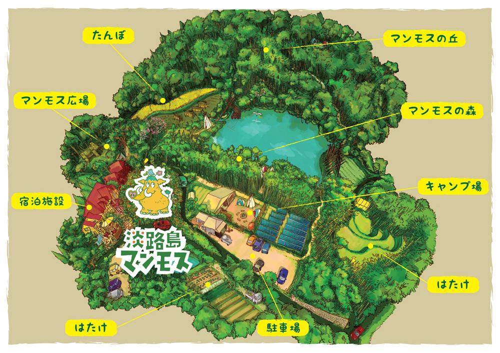 淡路島のコテージ-淡路島マンモスの地図